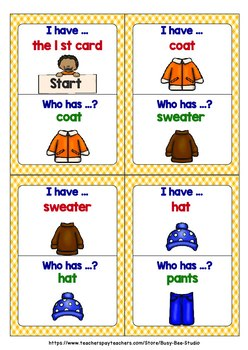 ESL Newcomer Game: CLOTHES (I have, who has)