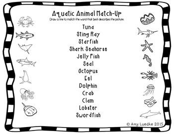 ESL Newcomer Aquatic Animal Vocabulary Activities