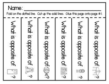 ESL Newcomer Opposites Vocabulary Activities