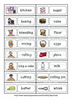 ESL Newcomer Resources: Let's bake word wall cards
