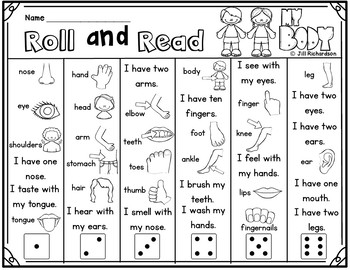 ESL Vocabulary Roll and Read Body Parts! Fun ELL Activity!