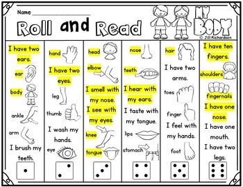 ESL Body Parts - ESL Activities:  Roll and Read Body Parts! Fun ELL Game