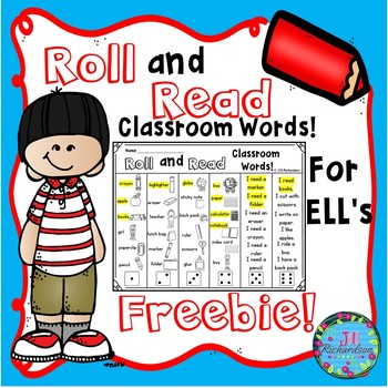 ESL Vocabulary Roll and Read Classroom Words  (FREEBIE! ESL Games)