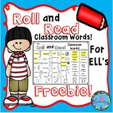 ESL Activities: Roll and Read Classroom Words  (FREEBIE! E
