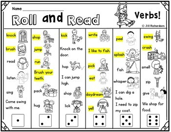 ESL Activities Roll and Read Verbs - Fun ELL Game!  Great for ELL Vocabulary