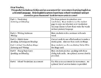 ESL Newcomer Unit - School Vocabulary