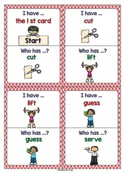 "ESL Newcomer Vocabulary Game : Basic Verbs (set 2) ""I have, who has?"""