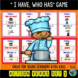 """Action Verbs Game """"I have, who has?"""" (set 3)"""