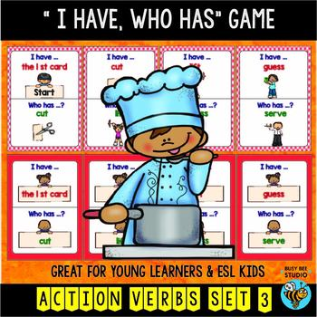 "ESL Newcomer Vocabulary Game : Basic Verbs (set 2) ""I have"
