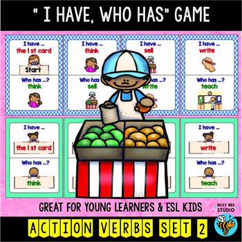"ESL Newcomer Vocabulary Game : Action Verbs (set 2) ""I have, who has?"""