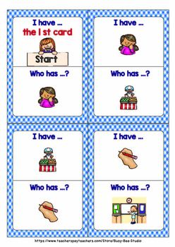 "Action Verbs Game ""I have, who has "" (set 2)"