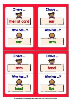 Vocabulary Game | Body Parts (I have, who has?)