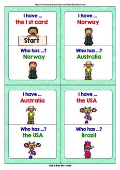 """ESL Newcomer Vocabulary Game: Countries """"I have, who has?"""""""