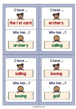 ESL Newcomer Vocabulary Game: Sports (I have, who has?)