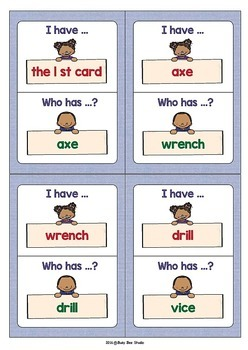 ESL Newcomer Vocabulary Game: Tools (I have, who has?)