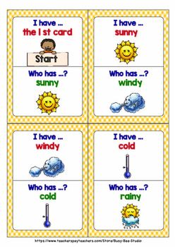 ESL Newcomer Vocabulary Game: Weather (I have, who has?)