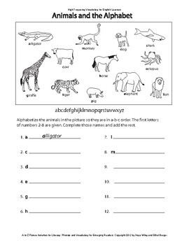 Reading Activities for ESL Beginners Part 1 - Words A-E:  Animals, Classroom