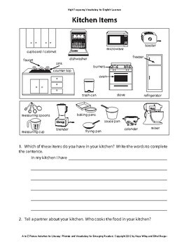 Reading Activities for ESL Beginners Part 3 - Words K-R: Kitchen Items, Math