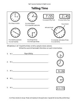 Reading Activities for ESL Beginners Part 4 - Vocabulary S-Z:  Seasons, Time