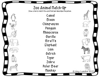 ESL Newcomer Zoo Animal Vocabulary Activities