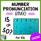 ESL Number Pronunciation Bingo Freebie