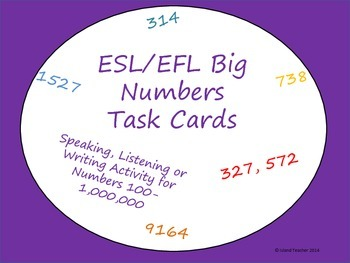 ESL Numbers Task Cards 100-1,000,000 Speaking, Listening, Writing Activity