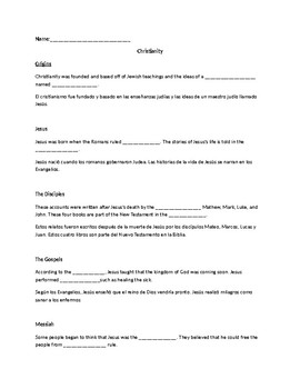 ESL Origins of Christianity PowerPoint Note sheet
