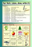 ESL Pair Work (1) - Listen, Draw, Write - EFL worksheets