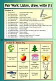ESL Pair Work (1) - Listen, Draw, Write - EFL worksheets