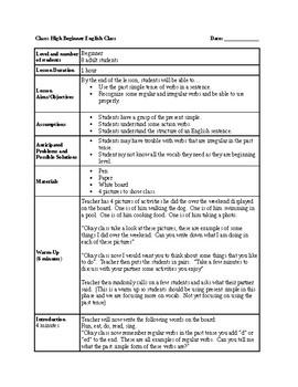 ESL - Past Simple Lesson Plan (1 hour)