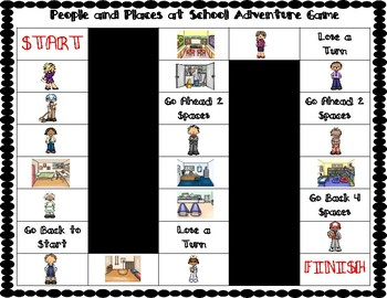 ESL People and Places at School Vocabulary Board Game