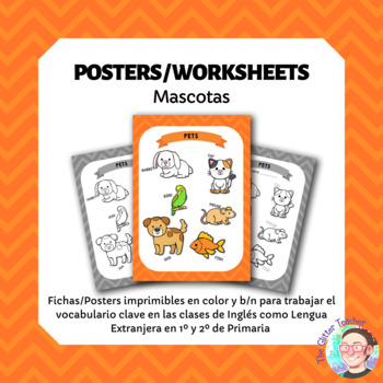 ESL Pet animals vocabulary posters for years 1 & 2