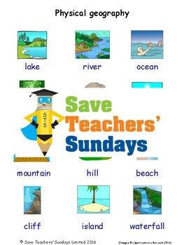 ESL Physical Geography Worksheets, Games, Activities & Flash Cards (with audio)