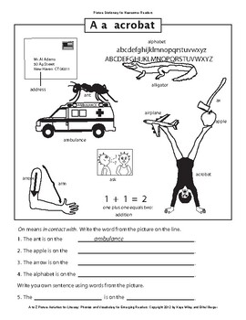 Picture Dictionary Activities for Beginning Readers - 300 illustrated words