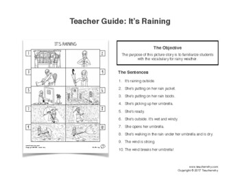 ESL Activity: Raining Picture Story & Worksheets