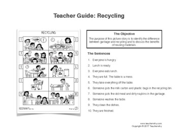 ESL Activity: Recycling Picture Story & Worksheets