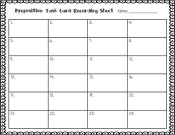 ESL Preposition Task Cards