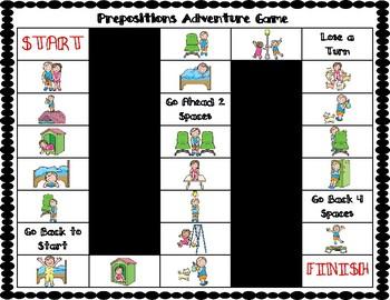 ESL Prepositions Vocabulary Board Game