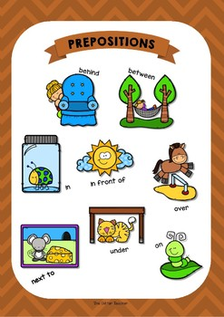 ESL Prepositions of place posters for years 3 & 4