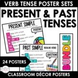 ESL Present & Past Tense Verb Conjugation Posters: Simple,