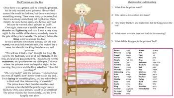 ESL Princess and the Pea Short Story Worksheet (Hebrew)