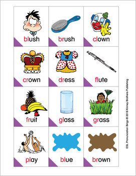 ESL Pronunciation Bingo - Blends