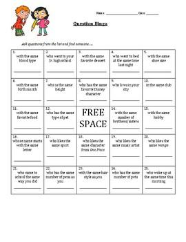 ESL Question Bingo Game