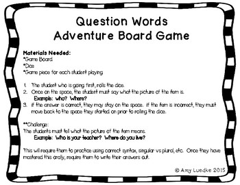 ESL Question Word Vocabulary Board Game
