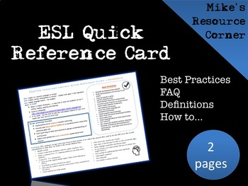ESL Quick Reference Card for Teachers