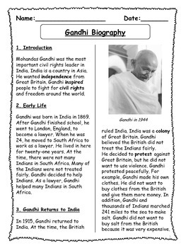 Gandhi Biographical Article and Activities for ESL