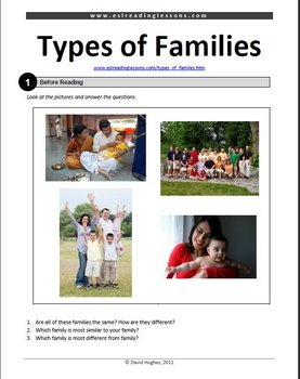 ESL Reading Practice: Types of Families