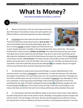 ESL Reading Practice: What is Money?