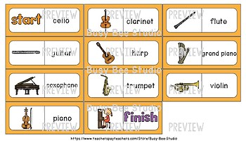 ESL Resources: Musical Instruments Domino Game