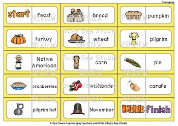 ESL Resources: Thanksgiving Words Domino Game